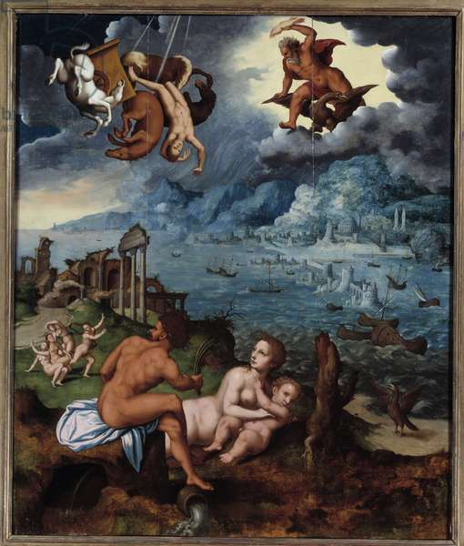 The fall of Phaeton Phaeton (Phaethon), unable to control the Helios tank, was struck by Zeus, and fell into the Eridan River. Painting by Claude Mignon (1535-1555) 16th century Rouen, Musee des Beaux Arts