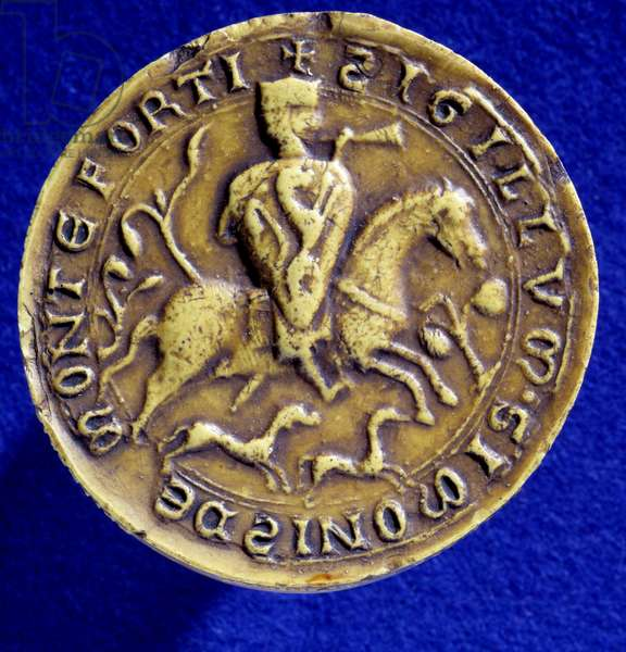 The seal of Simon IV of Montfort (1150-1218). He participated in the 4th Crusade in 1202 and the one against the Albigeers in 1209. Paris, National Archives