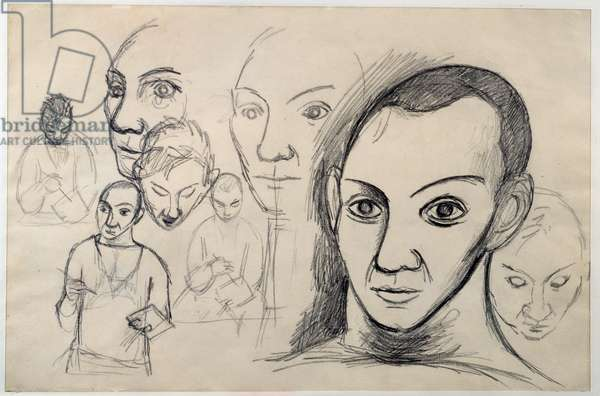 Studies for self-portraits. Drawing by Pablo Picasso (1881-1973), 1906. Lead mine. Dim: 0.31 x 0.47m. Paris, Musee Picasso.