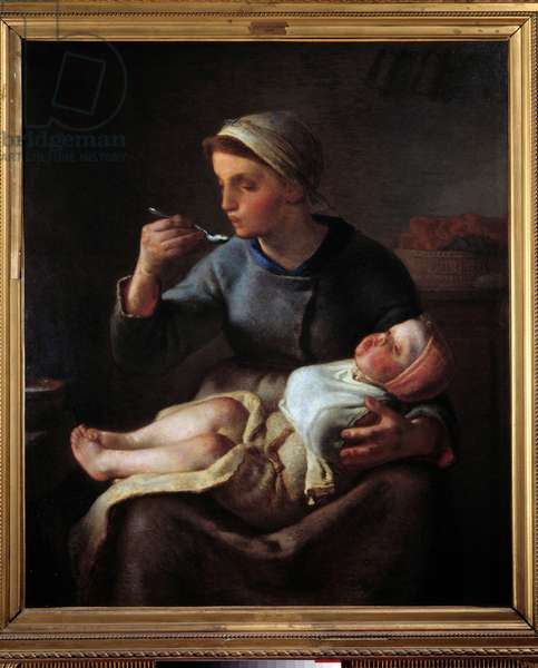 Woman making her child eat. Painting by Jean Francois Millet (1814-1875), 1861. Oil on canvas. Dim: 0,99x1,14m. Marseille, Musee Des Beaux Arts.