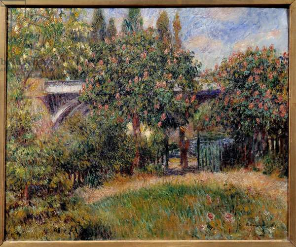 The railway bridge in Chatou or the pink chestnut trees. Painting by Pierre Auguste Renoir (1841-1919), 1881. Oil on canvas. Dim: 0.54 x 0.65M. Paris, Musee d'Orsay