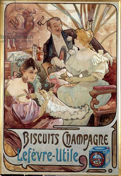 Art Nouveau: advertising poster for biscuits Champagne produced by Lefevre Utile, by Alphonse Mucha (1860-1939) 1897 - Art Nouveau: advertising poster for Biscuits Champagne manufactured by Lefevre-Utile, by Alphonse Mucha (1860-1939) 1897