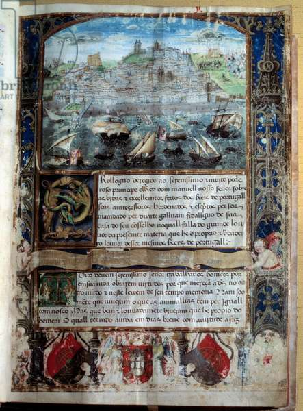 """Port of Lisbon in the 16th century Miniature in """""""" Chronicle of King Alfonso Henri"""""""", 16th century. Lisbon, National Museum of Antique Art"""