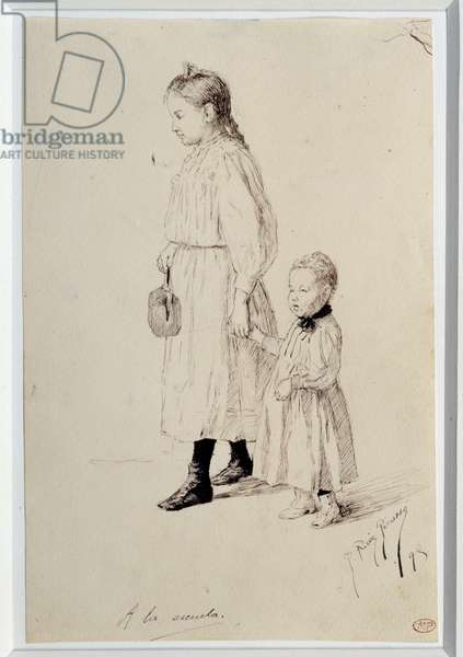 At the escuela: Lola, sister of the artist on the way to school. Drawing by Pablo Picasso (1881-1973), 1895. Black pen and ink. Dim: 0.22 x 0.15m. Paris, Musee Picasso.