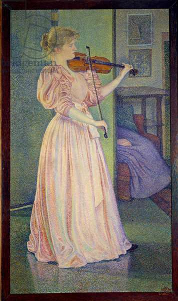 Portrait of Irma Sethe playing the violin, Ec. Bel., 1894 (oil on canvas)