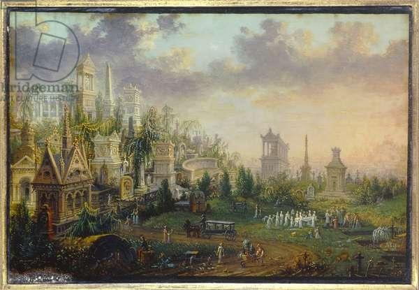 Le cemtiere du Pere lachaise à Paris Painting by Lebelle (19th century) 1835 Sun. 0,16x0,12 m Paris, Musee Carnavalet