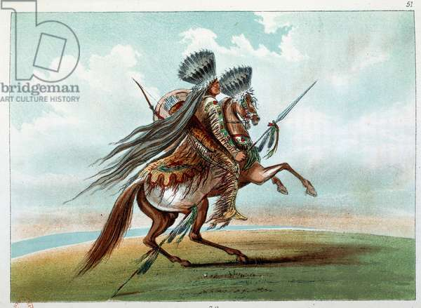 Indians of America: Indian Miniatarees hunting wild horses at the foot of the Rockies. Illustration by George Catlin (1794-1872), 19th century. Paris, B N