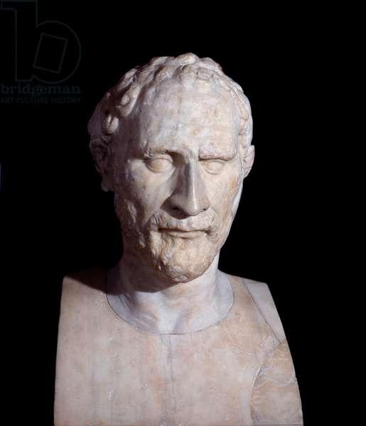Greek Art: bust of Demosthene (Demostene) (384-322 BC) Greek politician. Marble sculpture. London. British Museum