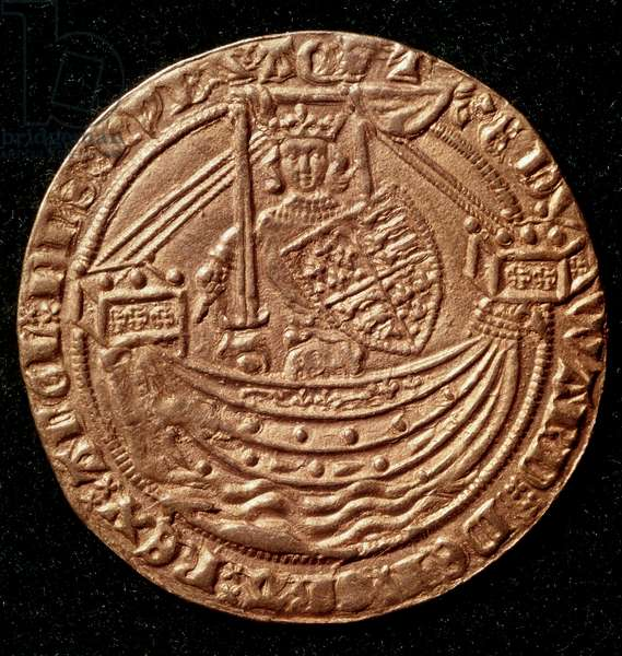 Currency: Ecu of Edward III of England (1327-1377). The king standing on a ship rising sword and shield to the arms of England. Paris, NL