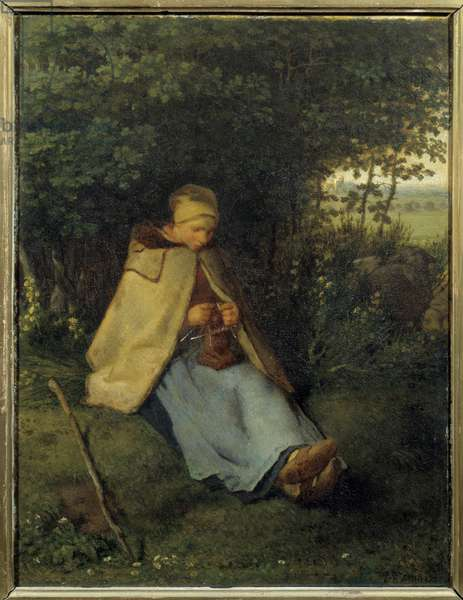 The knitter Painting by Jean Francois Millet (1814-1875) 1858 Sun. 0,39x0,29 m Paris, musee d'Orsay