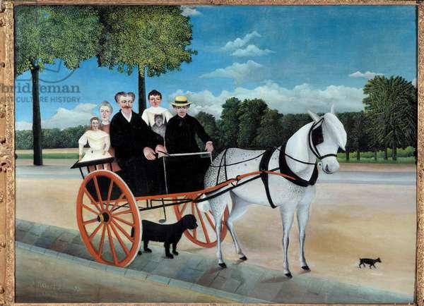 The Carriole of Father Junier painting by Henri Rousseau called the Customs Rousseau (1844-1910) 1908 Sun. 1,29x0,97 m Paris, Musee de l'Orangerie - Father Junier's Cart. Painting by Henri Rousseau called the Customs Rousseau (1844-1910), 1908. 1.29 x 0.97 m. Orangerie Museum, Paris