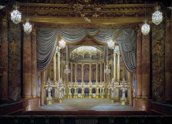 View of the theatre of the castle of Versailles with scenographic decor. 18th century Versailles