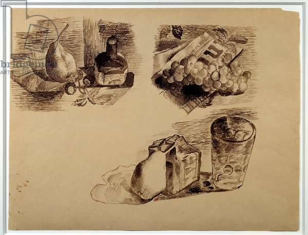 Three still lifes. Drawing by Pablo Picasso (1881-1973), 1914. Feather and brown ink. Dim: 0.38 x 0.49m. Paris, Musee Picasso.