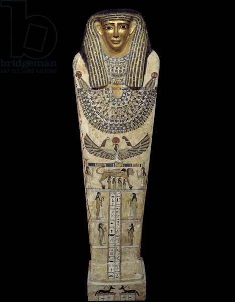 Egyptian Antiquite: Sarcophagus of Chenptah in painted wood, 30 BC-295 AD, Louvre Museum, Paris