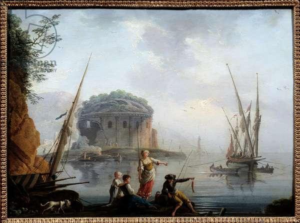 Marine Painting by Charles Francois Grenier de la Croix dit Lacroix de Marseille (? -1782) 18th century Sun. 0,27x0,38 m Rouen, musee des Beaux Arts