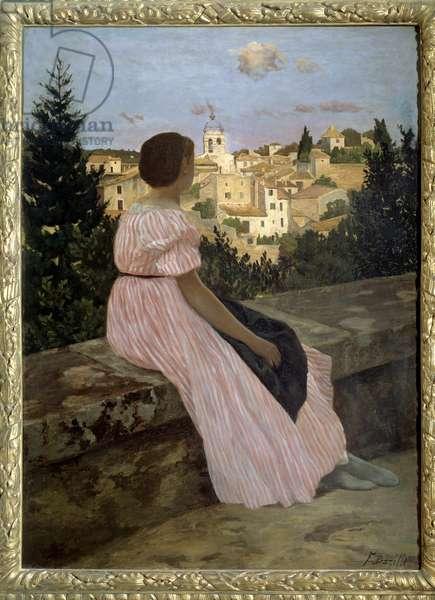 Pink dress or View of Castelnau le Lez (or Castelnau-le-Lez, Herault). Portrait of the artist's niece, Therese des Hours. Painting by Jean Frederic Bazille (1841-1870) 1864 Sun. 1,4x1,1 m. Oil on canvas. Paris, musee d'Orsay - The pink dress or View of Castelnau le Lez (or Castelnau-le-Lez, Herault). Portrait of the artist's niece, Therese des Hours. Painting by Jean Frederic Bazille (1841-1870), 1864. 1.4 x 1.1 m. Oil on canvas. Orsay Museum, Paris