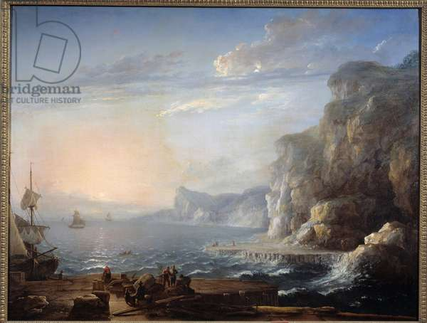 Sunset A landscape of cliffs and rocks on the sea, with fishermen in the foreground. Painting by Antoine Lebel (1705-1793) 18th century Sun. 0,9x1,16 m Rouen, musee des Beaux Arts
