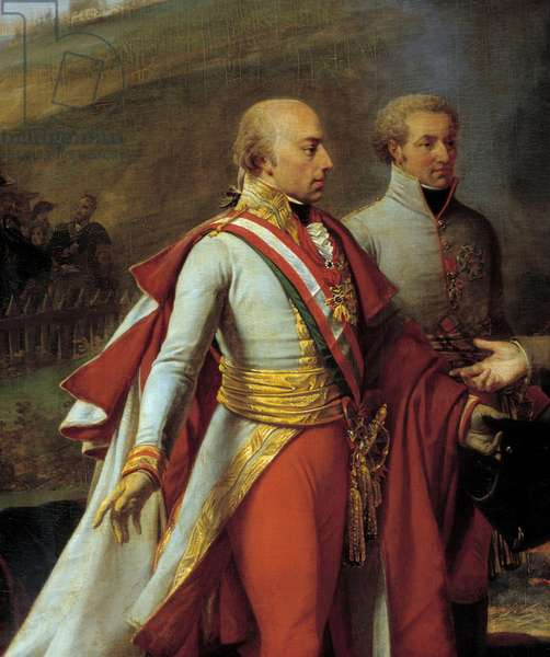 Interview of Napoleon I (1769-1821) and Francois II at Sarutschitz in Moravia after the Battle of Austerlitz, 4/12/1805 Detail representing Francois II of Austria (1768-1835) (left) and John I of Liechtenstein (1760-1836) (right). Painting by Antoine Jean Gros (1771-1835). 19th century. Dim. 3,8x5,3 m. Versailles, castle museum