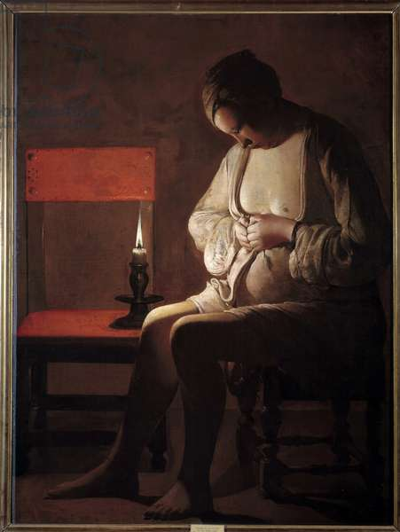 The woman has the chip. Painting by Georges De La Tour (1593-1652), 17th century. Oil on canvas. Dim: 1,20 x 0,90m. Nancy, Musee Historique Lorrain