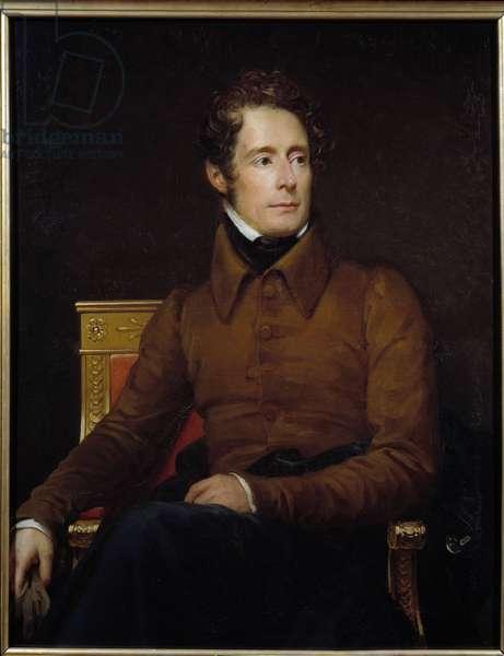 Portrait of Alphonse de Lamartine (1790-1869) poet and politician Painting by Francois Gerard (1770-1837) 1830 Sun. 1,18x0,91 m