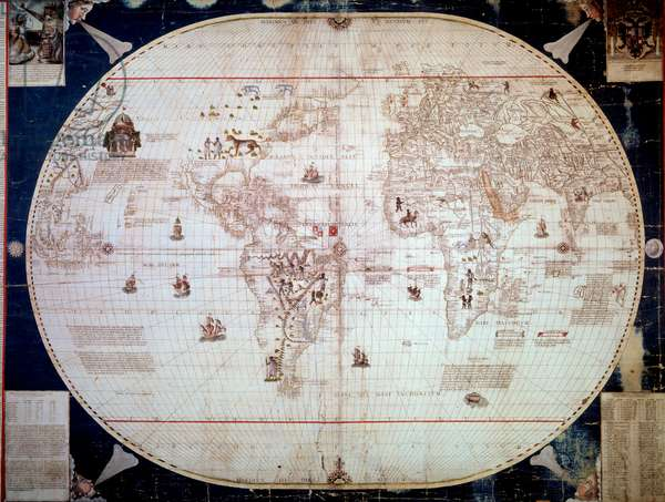 World map of the navigator Sebastiano Caboto (Sebastien Cabot) (1476-1557) 1544. Paris, B.N.