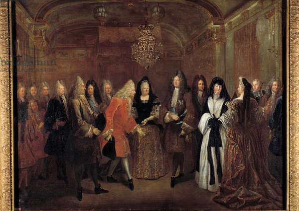 King Louis XIV (1638-1715) received Prince Frederic Augustus of Saxony from Elizabeth Charlotte d'Orleans on 27/09/1714 at the castle of Fontainebleau. Painting by Louis de Silvestre (1675-1760) 1715 Dim. 1,20 x 1,55 m