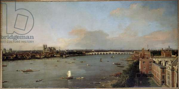 View of London and the Thames in the 18th century Painting by Antonio Canal known as Canaletto (1697-1768) 18th century - Lobkowicz Collections, Lobkowicz Palace, Prague - Dimensions Height: 118 cm (46.5 in). Width: 238 cm (93.7 in)