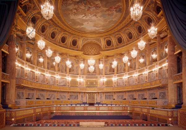 View of the interior of the Royal Opera of Versailles realized by Ange-Jacques Gabriel (1698-1782) 18th century Versailles