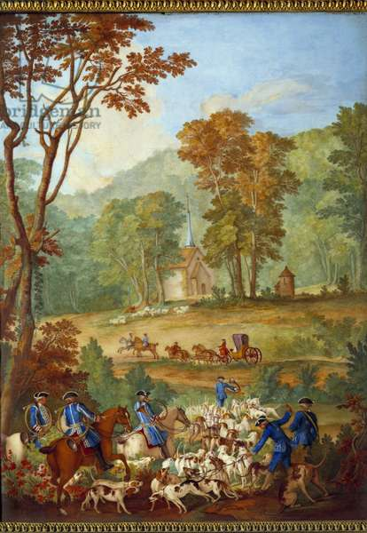 """Plaque depicting the hunts of Louis XVI (1754-1793): """"The pack of common dogs going to the meeting in the forest of Compiegne"""""""" Porcelain painting by Philippe Castel (ca. 1746-1797) by Jean Baptiste Oudry (1686-1755) 1778-1781 Dim. 0,39x0,49 m"""