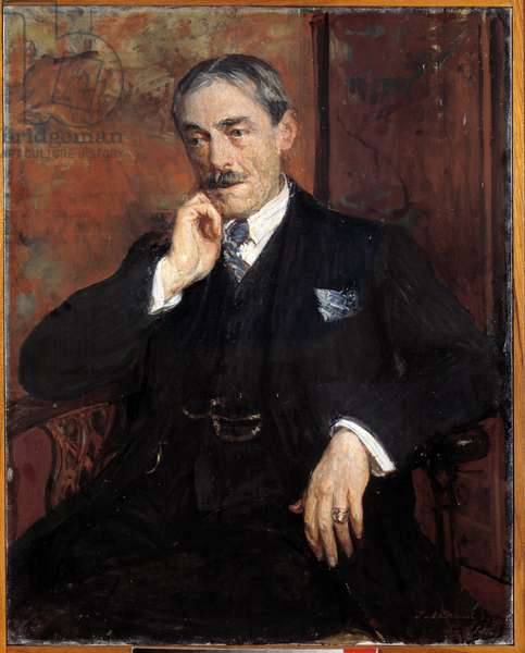 Portrait of Paul Valery (French writer, 1877 - 1946). Painting by Jacques Emile (Jacques-Emile) Blanche (1861-1942), 1923.Oil on canvas. Dim: 0.90 X 0.75m. Rouen, Musee des Beaux Arts.
