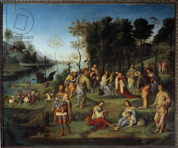 Allegory of the Court of Isabelle d'Este (1474-1539) Scene representing the harmony and peace of the Arts in a paradise garden. Painting by Lorenzo Costa (1460-1535) 16th century Sun. 1,64x1,97 m