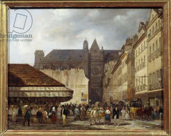 Rue des Prouvaires and the church of Saint Eustache (Quartier des Halles) in Paris. Painting by Giuseppe Canella (1788-1847) Ec.ital., 19th century. Oil on cardboard. Dim: 0.13 x 0.16m. Paris, Musee Carnavalet