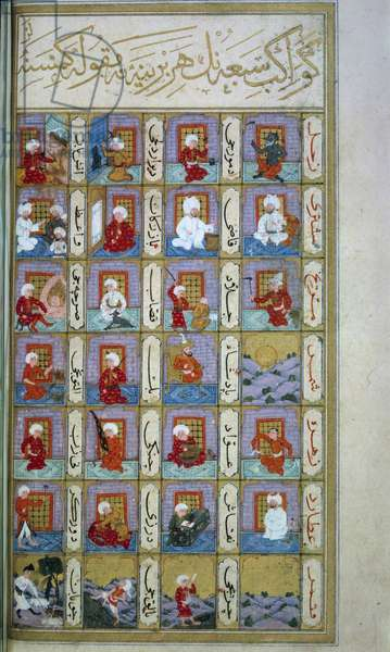 Turkish astrology: the seven planets and the different metiers. Manuscript from the Middle Ages, BN, Paris.