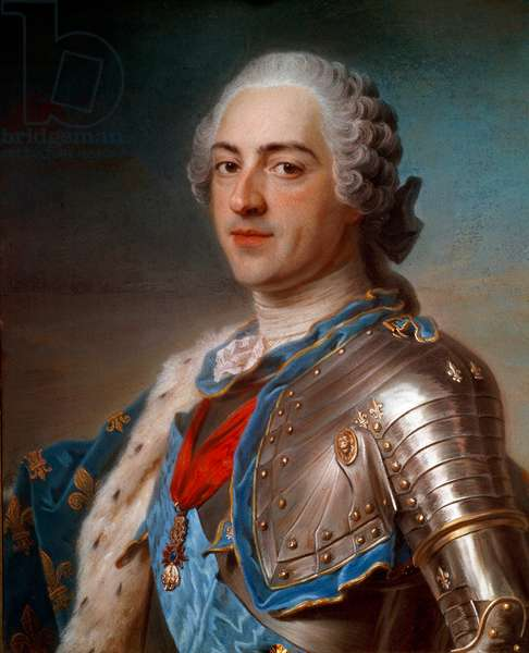 Portrait of Louis XV (1710 - 1774) in armor, with the cords of the Order of the Holy Spirit and the Golden Fleece. Pastel by Maurice Quentin Delatour known as Quentin De La Tour or Quentin De Latour (1704-1788), 18th century, 60 x 54 cm. Paris, Musee Du Louvre - Portrait of Louis XV (1710-1774) in armor, with cords of the order of the Holy Spirit and the Golden Fleece. Pastel painting by Maurice Quentin Delatour called Quentin de La Tour or Quentin de Latour (1704-1788), 18th century, 60 x 54 cm. Louvre Museum, Paris