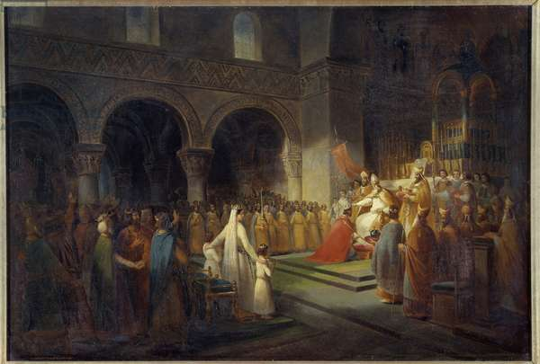 Sacred Pepin the Brief by Pope Stephen II in the Abbey of Saint Denis on 28 July 754. Painting by Dubois Francois (1790-1871). 1837, 0.62 x 0.91 m. Versailles, Chateaux de Versailles et de Trianon - Sacre of Pepin the Short by the Pope Stephen II at the Abbey of Saint Denis on 28 July 754. Painting by Dubois Francois (1790-1871). 1837, 0.62 x 0.91 m. Castles Museum of Versailles and Trianon, France