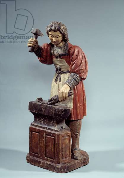 Saint Crepin patron of shoemakers. Anonymous sculpture polychrome wood, 18th century. Paris, Musee Arts and Traditions Popular