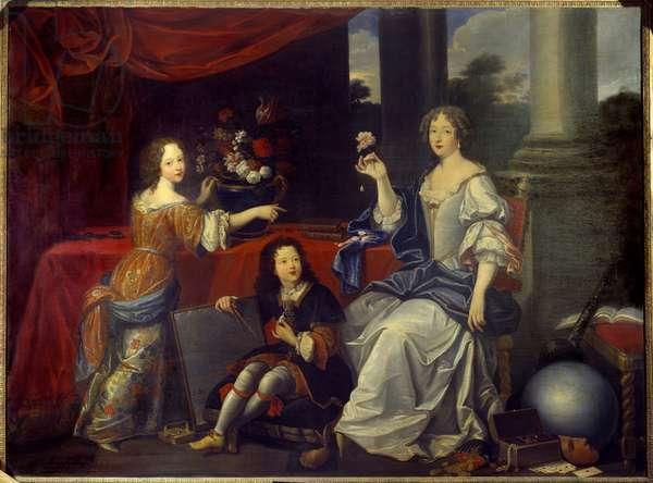 Portrait of Louise Francoise de la Baume le Blanc, Duchess de la Valliere (Madame de La Valliere) (1644-1710), favorite of Louis XIV and her children Mademoiselle de Blois and the Count of Vermandois painting by Pierre mignard (1612-1695). 17th century Sun. 1,88 x 2,48 m