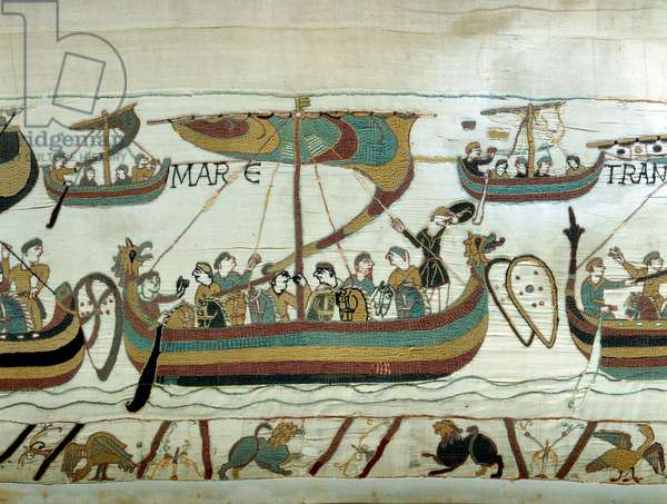 The fleet of William I the Conquerant (1027-1087) crosses the Channel towards England. Bayeux tapestry or Embroidery by Queen Mathilde, 1077 (70,34x050 m). Bibl. de Bayeux. Bayeux