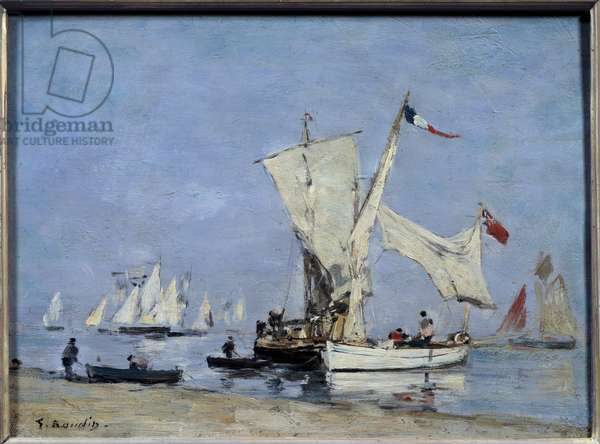 Sailboats Painting by Eugene Louis Boudin (1824-1898) 1869 Sun. 0,24x0,33 m Paris, musee d'Orsay