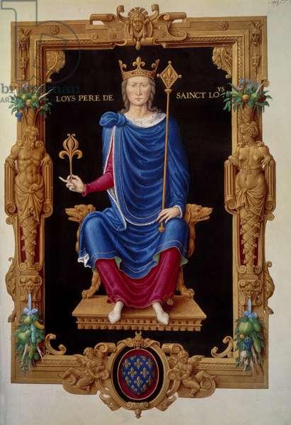 """Portrait in foot of the King of France Louis VIII the lion (1187 - 1226) father of Saint Louis. Miniature in """""""" Recueil des rois de france"""""""" by Jean Tillet, 16th century. BN, Paris."""