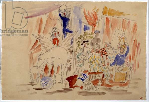"Project for the ""Parade"" scene curtain. Drawing by Pablo Picasso (1881-1973), 1917. Watercolour and lead mine. Paris, Musee Picasso."
