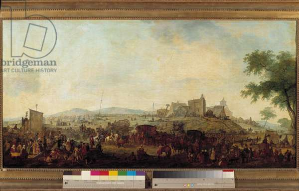 View of the military maneuvers camp established under the command of the Prince of Conde near Saint Omer from 5 August to 25 September 1788 This is Louis V Joseph de Bourbon-Conde (1736-1818). Painting by Jacques Francois Joseph Swebach (1769-1823) 1788 Sun. 0.68x1.3 m. Versailles Musee du Chateau