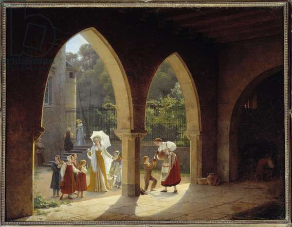 Madame Elisabeth of France (1764-1794), sister of Louis XVI assistant in the distribution of milk in her house in Montreuil near Versailles Painting by Francois Richard Fleury (1777-1852) Sun. 1,34x1,75m. Versailles, castle museum