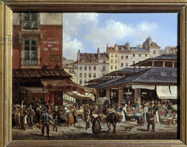 View of the Halles in Paris Painting on cardboard by Giuseppe Canella (1788-1847) 1828. Dim 0,14 x 0,19 m Paris, Musee Carnavalet