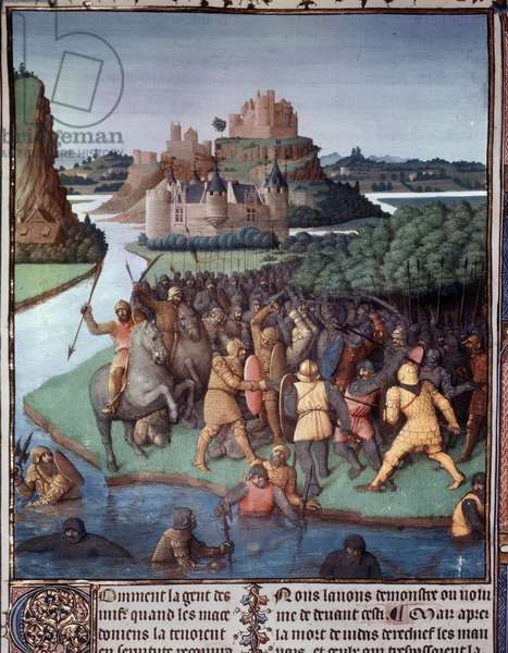 """Battle between Jews and Macedonians Miniature taken from """"The Book of Ancient Jews"""""""" (Judaic Antiquites) by Jean Fouquet (1420-1481) 15th century Paris, B.N."""