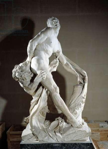 Representation of athlete Milon de Crotone (540-516 BC approx.). Sculpture by Pierre Puget (1620-1694) 1683. Sun 2.7 m. Paris, Louvre Museum
