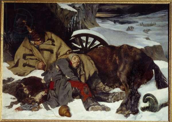 Episode of the Russian retreat. Napoleonic War (1812). Painting by Joseph Ferdinand Boissard De Boisdenier (1813-1866), 1835. Oil on canvas. Dim: 1,60 x 2,25m. Rouen, Museum of Fine Arts