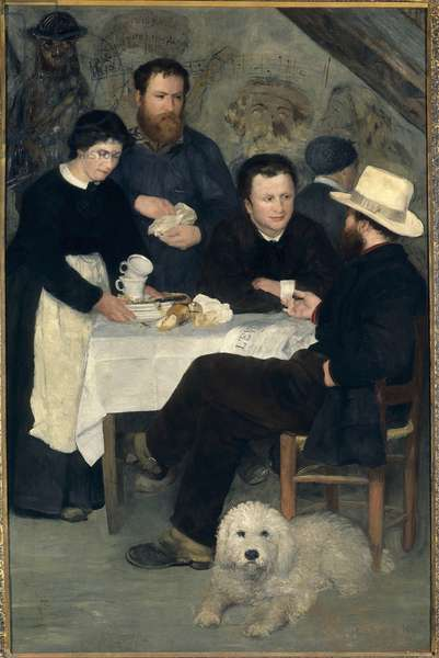 Chez la Mere Antony a Marlotte (Bourron-Marlotte (77)): Claude Monet, Alfred Sisley and Charles Le Coeur around the table with Mere Anthony, Painting by Pierre Auguste Renoir (1841-1919), 1866, 195 x 130 cm, Musee National de Stockholm - At the Inn of Mother Anthony, Marlotte, 1866: Claude Monet, Alfred Sisley and Charles Le Coeur pose around a table, Painting by Pierre Auguste Renoir (1841-1919), 1866, 195 x 130 cm, National Museum, Stockholm