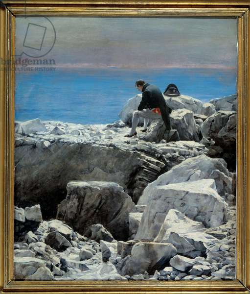 It's over, Napoleon I to Saint Helene (1769-1821) The emperor in exile is represented in a melancholic attitude alone on a rock of Sainte-Helene Island. Painting by Oscar Rex (1857-1929) 19th century Sun. 0,76x0,67 m Malmaison, musee du chateau - It's over, Napoleon I in Saint Helena (1769-1821). The Emperor in exile is represented alone, in a melancholy pose on a rock of Saint Helena's Island. Painting by Oscar Rex (1857-1929), 19th century. 0.76 x 0.67 m. Castle Museum, Malmaison, France