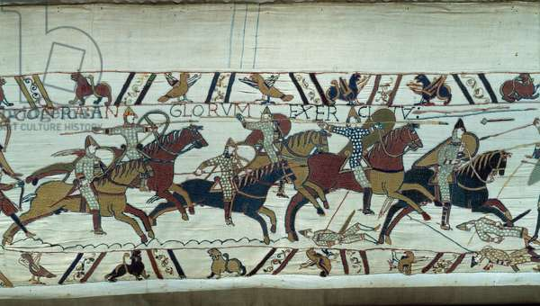 Conquete of England by the Duke of Normandy William the Conquerant (1027-1087) in 1066: the Norman cavalry charged at the Battle of Hastings Detail of the Tapestry of Bayeux or Embroidery of Queen Mathilde, 1077 (70,34x050 m). Library of Bayeux. Bayeux, Calvados